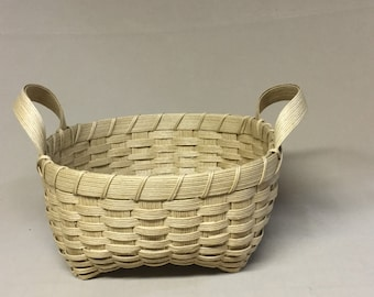 Hand Woven Muffin Basket, Square with Side Handles, Woven from Paper Strapping, Sturdy