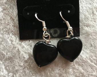 Heart Earrings, Rose Quartz Earrings, Pink Quartz Earrings, Black Onyx Earrings, Dangle Earrings, Gift for Her, Heart Jewelry, Onyx Jewelry