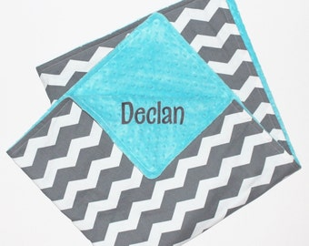 PERSONALIZED Chevron Baby Blanket, Gray and White Chevron, Turquoise Minky Blanket, Baby Blanket, Custom Blanket, YOUR CHOICE of Minky Color