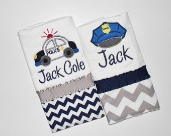 Personalized Burp Cloth Set, Police Burp Cloths, Chevron Burp Cloths, Baby Burp Cloths, Custom Burp Cloths, Pro Police, Navy and Gray