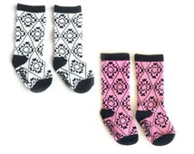 SALE! Baby and toddler knee high socks package of 2 Baby socks Rose quartz pink and yellow Boot Socks in Aztec print baby shower gift nordic