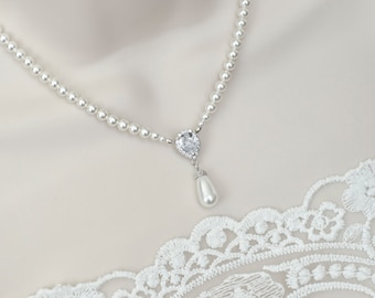 Bridal Necklace, Bridal Pearl and Cubic Zirconia Necklace