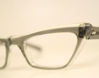 Pointy Gray cat eye eyeglasses  vintage cat eye glasses frames Cateye frames