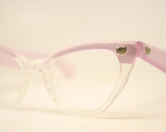 Unused Vintage Pink Clear Cat Eye Glasses Authentic 1960's Frames