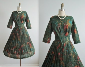 50's Day Dress // Vintage 1960's Green Abstract Print Full Pleated Garden Party Dress L