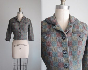50's Cropped Jacket // Vintage 1950's Checked Wool Fitted Cropped Shorty Jacket XS