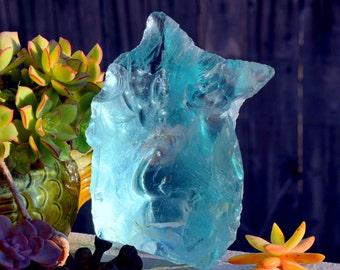 Lovely Chunk of Aqua Marine Blue Translucent Cullet Slag Glass: HUGE 84oz Garden / Terrarium / Aquarium / Window Suncatcher / Paperweight