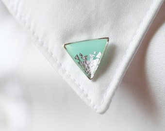 Mint Silver Foil Triangle collar brooch - Geometric collar pin - shirt accessory