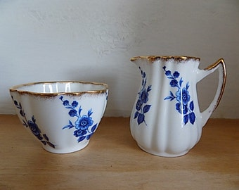 Antique Creamer Sugar Cottage Chic - Elizabethan - Blue White Floral