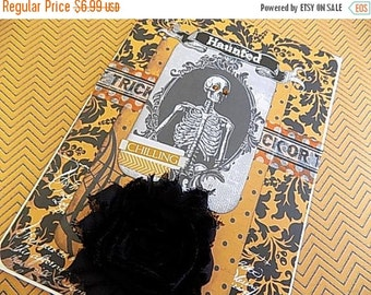 Halloween Embellished Card - Haunted - Blank Greeting - Orange Black