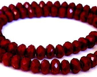 17 velvet 8mm burgundy rondelles, Chinese crystal faceted, synthetic jade 8mm
