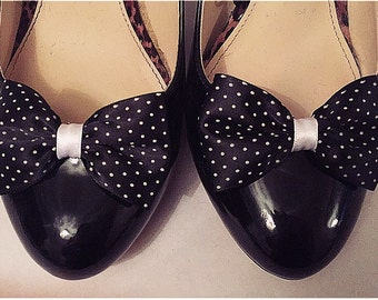 Black Shoe Clips White Polkadots Dotty Bows For Your Shoes Bow Clips by Seriously Sassyx