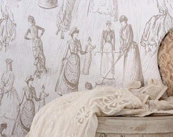 Jeanne d'Arc Living Soft Beige Victorian Ladies Golfing Wallpaper Remnant
