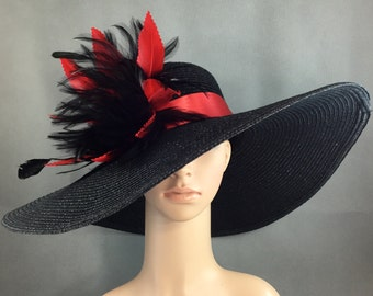 Christmas Red Party Hat,Black Kentucky Derby Hat with Red hand-trimmed feathers, Dressy Hat ,Formal Hat, Wedding Hat,Special Occasion