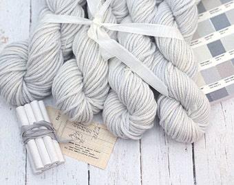 Hand dyed 100% Cashmere Yarn, Moondust, Chunky, Mischa, very pale blue-gray