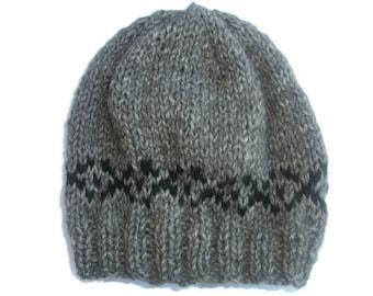 Knit Baby hat, Fair Isle Baby Hat,  Alpaca hat Merino Beanie, Baby Boys Hat, Grey baby Hat