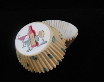 Wine Cupcake Liners, Muffin Papers, Bachorlette Parties, Cupcake Wrapper, Baking Cups, Girls Night Out, Liquor Cupcake - QTY 25