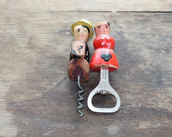 Norwegian Wood Couple Cork Screw and Bottle Opener