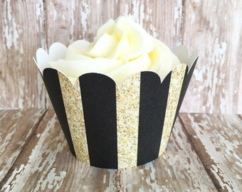 gold and black stripe cupcake wrappers, gold striped cupcake wrappers, wedding cupcake wrappers, set of 24
