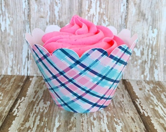 24 pink and blue plaid cupcake wrappers, pink plaid wrappers, turquoise plaid cupcake wrappers, standard cupcake wrappers