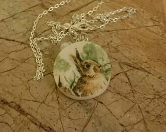 Hare design recycled broken china plate pendant with chain