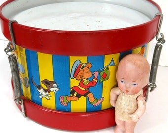 Vintage Tin Toy Drum, Ohio Art, Child Room Decor, Kids, Animals, Bright Colors