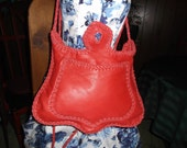 Hand Laced Red Minelli Cowhide fully lined in Black Leather Bag Purse Shoulder Crossbody