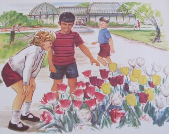 Vintage School Classroom School Poster Print - Community - Circa 1966