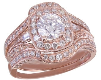GIA H-SI1 14k Rose Gold Round Cut Diamond Engagement Ring And Bands Halo Filigree 2.50ctw