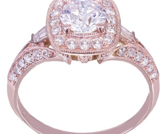 14k Rose Gold Round Cut Diamond Engagement Ring Antique Style Prong Set 1.95ctw