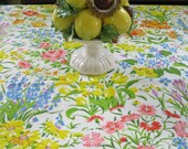 Floral Cotton Tablecloth / Vintage Tablecloth / Reserved for MK