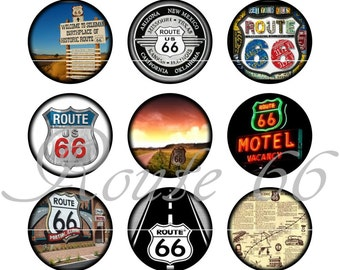 "Route 66 Magnets, Route 66 Pins, Route 66 Badges, 1"" Flat, Hollow Bks, Cab, Set 3"