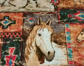 Cotton fabric with southwestern horse design