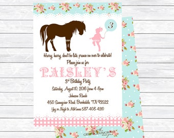 Shabby Chic Vintage Pony Printable Invitation