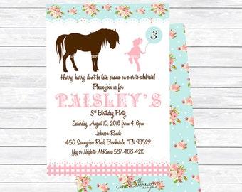 Shabby Chic Vintage Pony Printable Invitation
