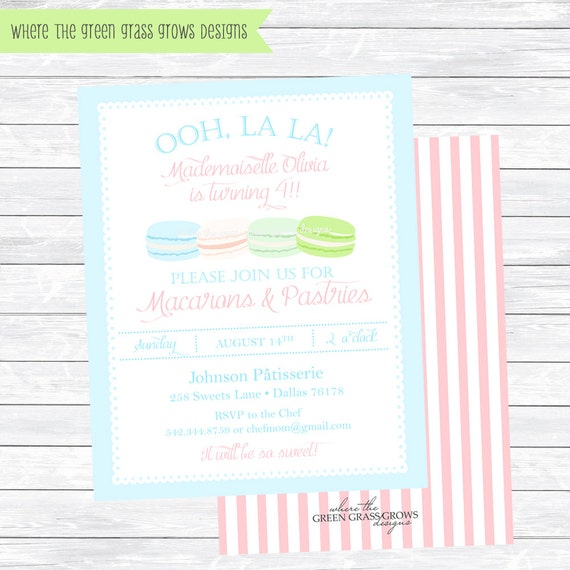 Macarons & Pastries Invitations Printable