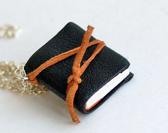 The new black, happy moments, secret, tiny leather journal book for a necklace, handmade, miniature, accessory,steampunk, JunqueTreasures