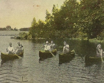 Canoeing Among The Thousand Islands Antique Postcard 1907 A Day on the St. Lawrence River
