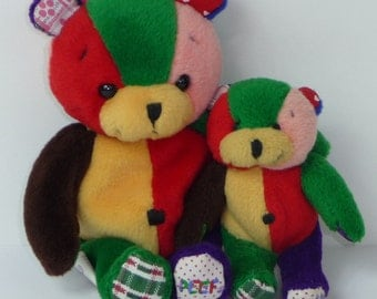 """Pair of Plush Peef Bears One 6 1/2"""" Beanie with Squeaker and One 4"""" Stuffed Princess Soft Toys 1996"""