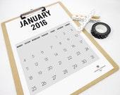 Vertical Grey Printable Monthly Calendar 2016 - Wall Desk Minimal Digital Calendar Planner- Office Organization - Instant Download PDF File