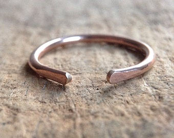 14K Rose Gold Filled Cuff Ring, Pink Gold Paddle Ring, Horseshoe Ring, Paddle Cuff, Stacking Ring, Bohemian Ring, Bohemian Jewelry