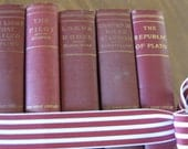 RESERVED Kipling Cooper Blackmore Longfellow Plato 5 Hardcover Bundle of Vintage Worn Books to Display Read Alter Gift