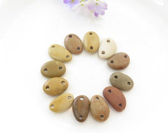 Buttons Medium Connectors Beach Stone Pebbles Organic Beads-Jewelry supplies Double Drilled Smooth
