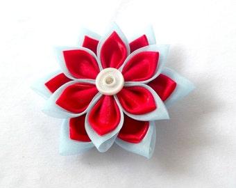 Red and Blue Statement Hair Flower Tsumami Kanzashi Fabric Flower