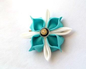 Aqua and White Kanzashi Hair Flower