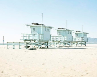 "Venice Beach Lifeguard Towers, Beach Photography, Coastal Home Decor, California Beach, Los Angeles, West Coast, Beach Life ""Venice Towers"""