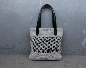 Macrame boho bag with lining - black leather handles - gift idea - Christmas gift