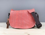 Medium - Peach Coral  Leather Camera Bag New Satchel Chocolate Leather DSLR - IN STOCK