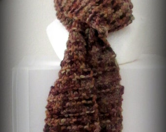 scarf - knit scarf - hand knit scarf - hand made scarf - merino wool scarf - merino wool knit scarf - wool scarf - brown wool knit scarf -