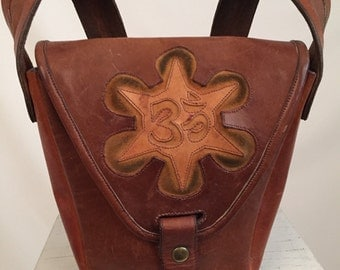 60's Oh So Hippie Leather  Shoulder Bag with Sacred OM Carved In Leather Center